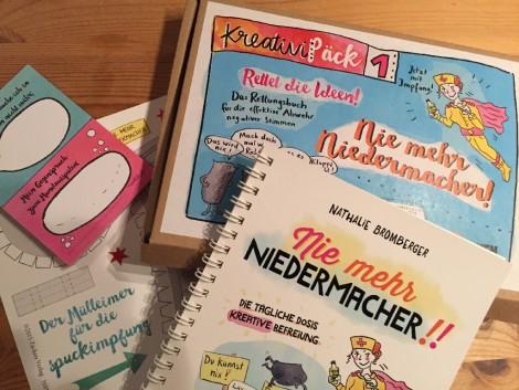 """Auf dem Bild ist das Set """"Nie mehr Niedermacher"""" von Nathalie Bromberger zu sehen - mein Buchtipp für den Januar 2016."""