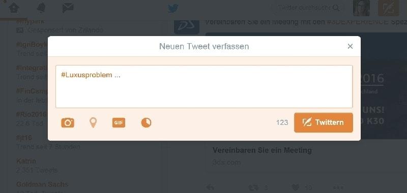 """Auf dem Screenshot ist ein mit """"#Luxusproblem ..."""" begonnener Tweet zu sehen."""