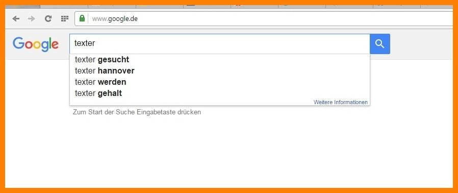 SEO und Text: Ein Screenshot mit der Google-Ergänzung ist zu sehen