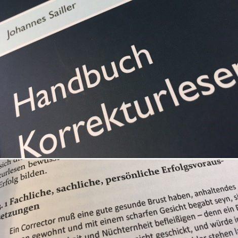 Das Handbuch Korrekturlesen ist auf dem Foto, man sieht einen Teil des Titels und einen Teil einer Seite.