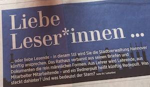 Ein Zeitungsartikel, der mit einem Gender-Star aufmacht.