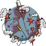 Eine Weltkugel ist im Krieg zu sehen