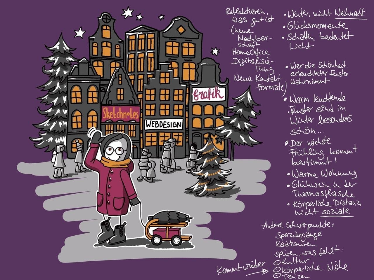 Ein gutes Briefing kann auch eine Zeichnung sein. Auf dem Bild ist ein gezeichnetes Briefing für eine Winterkarte zu sehen.